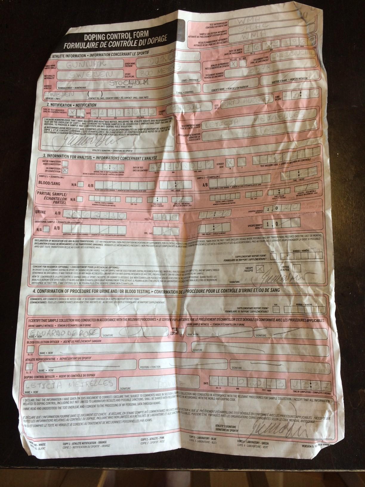 dopingformulär