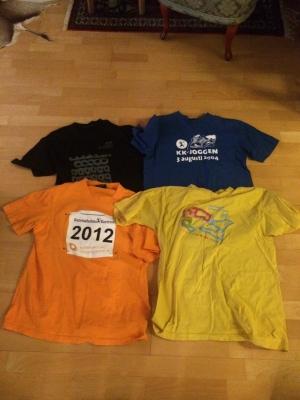 Den svenska löparstammens tävlingskläder inför vårstafetten 2014.